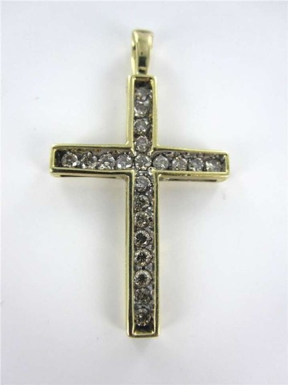Vintage 10K YELLOW GOLD PENDANT DIAMOND CROSS CHARM CHRISTIAN 1.2DWT CHRIST CHURCH FAITH