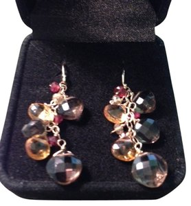 Other 14K Gold Smokey Quartz, Garnet, Citrine Drop Earrings