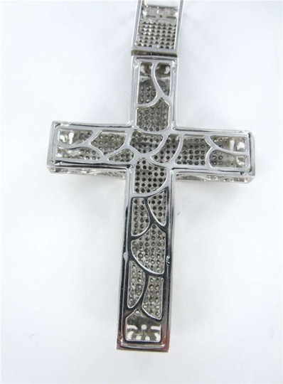 Vintage 10KT WHITE GOLD PENDANT BIG CROSS 462 DIAMOND CHRISTIAN CHARM 6.5DWT RELIGION