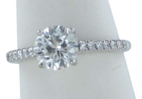 Vintage 18KT WHITE GOLD ROUND DIAMOND 1.10CT WEDDING RING WITH 14 DIAMONDS W/ GIA CERT