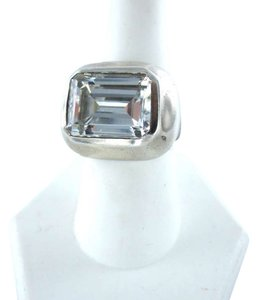 Vintage STERLING SILVER RING 10.1DWT WHITE STONE BIG STR JEWELRY VINTAGE FASHION URBAN