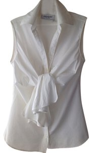 Saint Laurent Sexy Bow Couture Cotton/lycra Stretches Top White