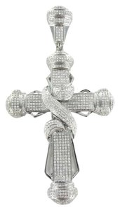 Vintage 10KT WHITE GOLD PENDANT CHARM 772 DIAMOND BIG CROSS 15.3DWT FAITH SPIRITUAL GOD