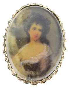Vintage 14KT YELLOW GOLD PENDANT PIN BROOCH VINTAGE VICTORIAN PORTRAIT LADY ANTIQUE