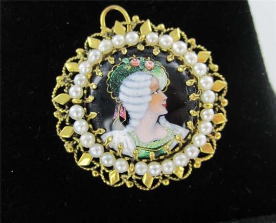 Vintage 14KT YELLOW GOLD PENDANT FRENCH VICTORIAN SEED PEARL BROOCH ANTIQUE COLLECTIBLE