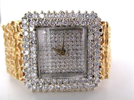 Vintage 14KT YELLOW GOLD 201 DIAMOND DIAL BEZEL WATCH 72.7DWT SOLID BRACELET ANTIQUE