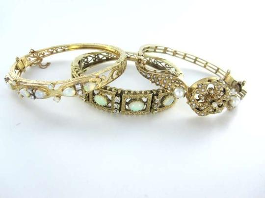 Vintage 12KT YELLOW GOLD BRACELET BANGLE PEARL PS ANTIQUE VINTAGE 12.1DWT VICTORIAN