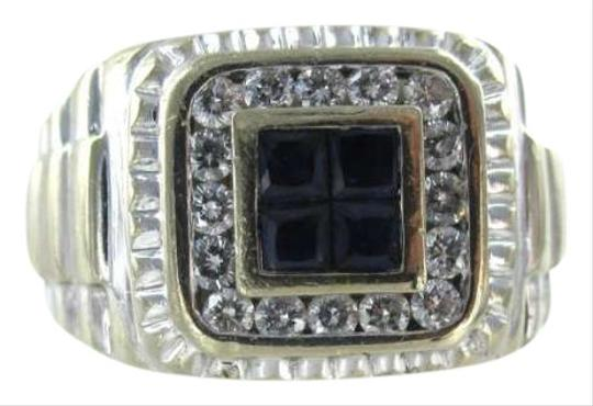 Vintage 18KT WHITE GOLD MEN RING 5.9DWT FATHER DAY 16 DIAMOND SZ 8.5 SAPPHIRE CLUSTER