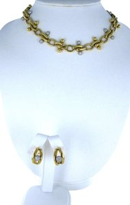 Vintage TIFFANY & C0 18KT YELLOW PLATINUM GOLD JEWELRY SET NECKLACE + EARRINGS DIAMOND