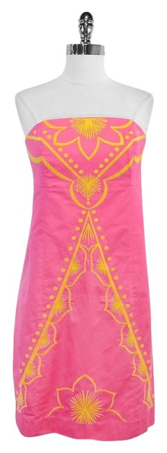 Preload https://item3.tradesy.com/images/lilly-pulitzer-pink-and-yellow-embroidered-cotton-strapless-mid-length-short-casual-dress-size-8-m-3526072-0-0.jpg?width=400&height=650