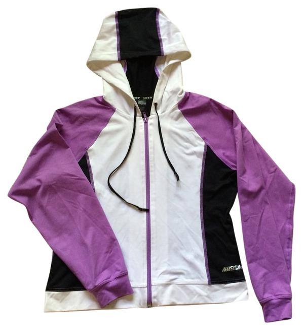 Item - Purple Black White Shock Absorber Hooded Zip Up Activewear Outerwear Size 8 (M, 29, 30)