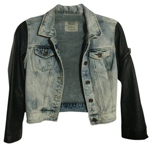 Zara Faux Light wash denim and black leather Womens Jean Jacket