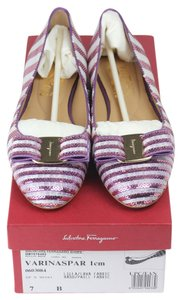 Salvatore Ferragamo Sparkle Flat Striped Sequin Purple/White Flats