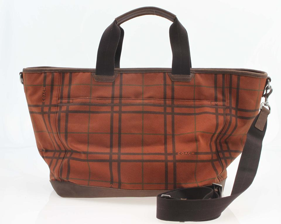 Coach Camden Canvas Tattersall Tote F70934 Orange and Brown Weekend ... 12086889a4fca