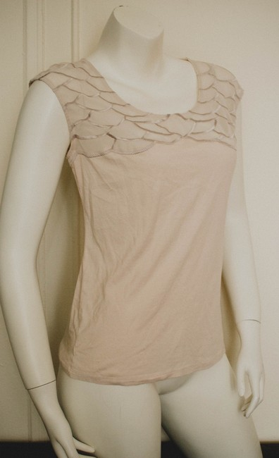 Ann Taylor Spring Summer Fall Office Business Date Night Sleeveless Blouse Embroidered Embroidery Boho Preppy Bohemian Scalloped Top light peach/pink