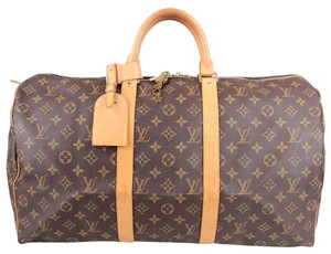 Louis Vuitton Keepall 50 Travel Luggage Carry On Duffle Monogram Canvas Travel Bag