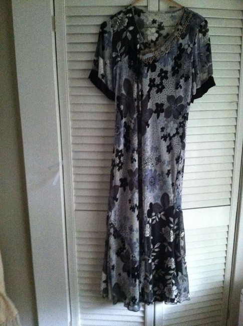 black white Maxi Dress by Spenser Jeremy Vintage Style Lace Inserts
