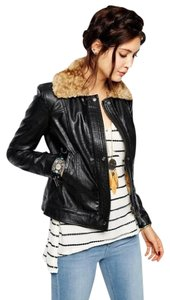 Free People Faux Fur Moto Aviator Caramel Faux Fur Faux Leather Motorcycle Jacket