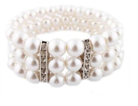 White Iced Out Rondelle with Three Row Pearl Style Stretch Bracelet