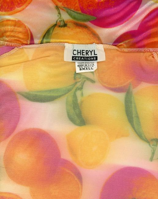 Cheryl Creations Vintage 1980s 80s 1990s 90s Hipster Punk Rockabilly Iridescent Holographic Fruit Summer Spring Fall Party Neon Stretchy Button Down Shirt orange, pink, yellow, green
