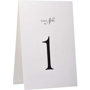 White Table Number Tent Cards - #1-7 Only Other