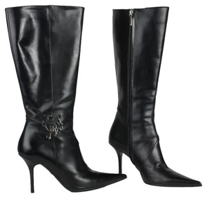 Dior Silver Hardware Leather Black Boots