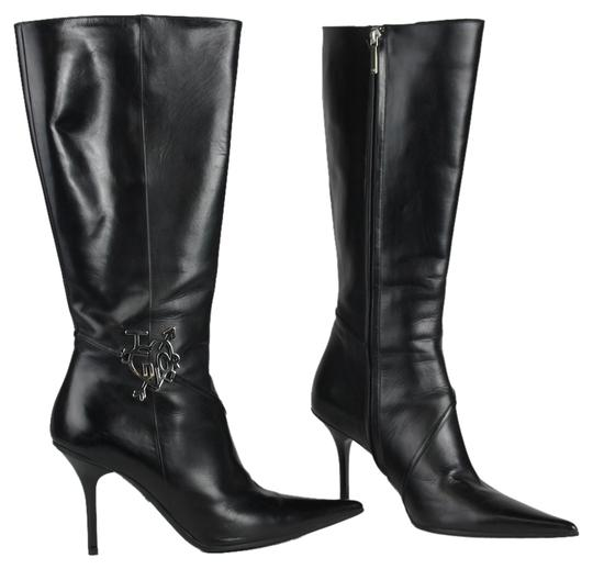 Dior Silver Hardware Leather Evening Pointed Toe Black Boots