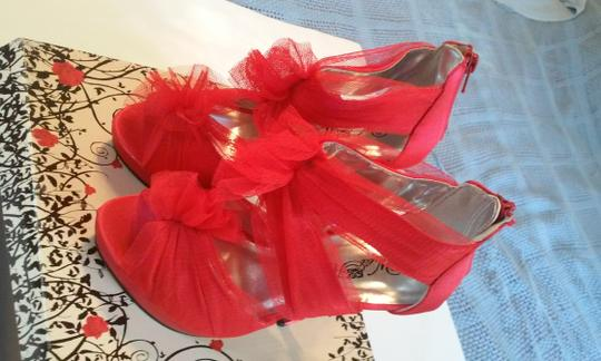Other Peep Toe Footwear Stiletto Mesh Red Platforms