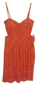 Material Girl short dress Coral Lace Pink on Tradesy