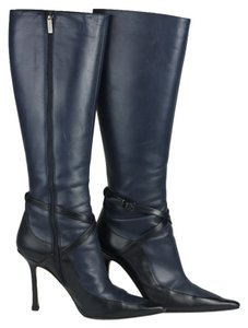 Jimmy Choo Pointed Toe Leather Boot Blue Boots