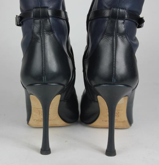 Jimmy Choo Pointed Toe Leather Heel Blue Boots