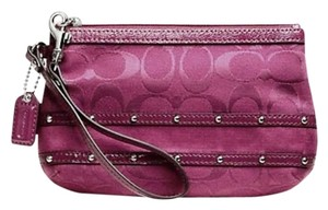 Coach Studded Stud Sateen Stripe Medium Med Dark Red Wristlet in wine