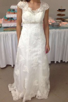 David's Bridal Cap Sleeve Lace Over Satin Gown With Illusion Back Style T3299 Wedding Dress