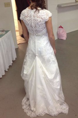 Cap Sleeve Lace Over Satin Gown With Illusion Back Style T3299 Wedding Dress