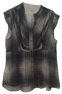 BCBGMAXAZRIA Light Weight Button Down Collar Short Sleeve Career Suiting Office Wear Top Black/Grey
