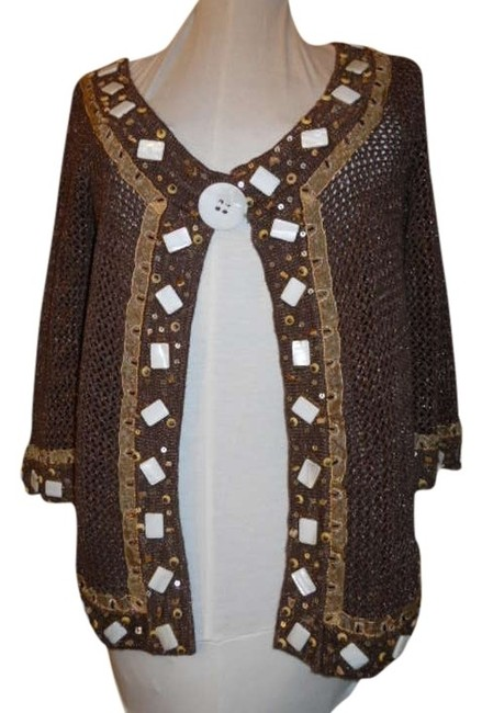 Preload https://item4.tradesy.com/images/just-b-brown-34-sleeve-cardigan-size-8-m-353053-0-0.jpg?width=400&height=650