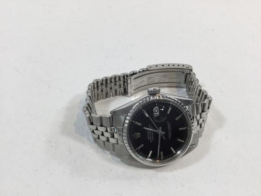 Rolex Mens Rolex Datejust Stainless Steel Date Watch With Black Dial Vintage