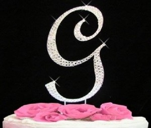 Silver Rhinestone G Cake Toppers