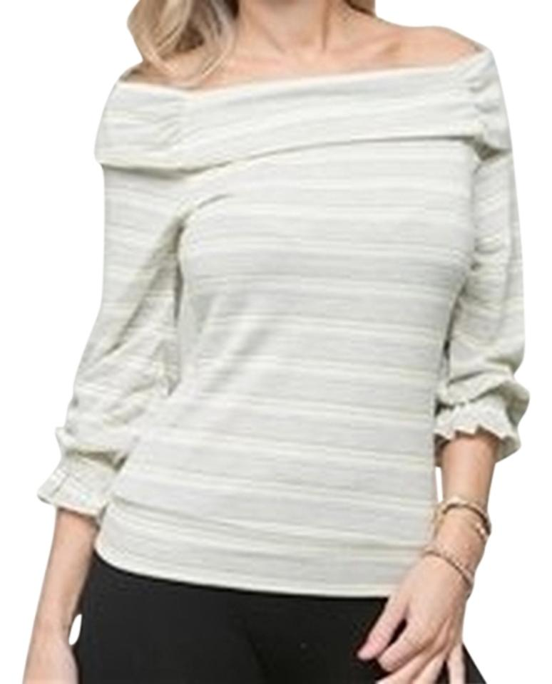 468ae45285ce3 Yellow Gray Off Shoulder Stripe Ruffle Sleeve Blouse Size 12 (L ...