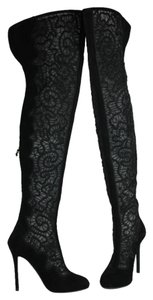 Nicholas Kirkwood Over The Knee Heels Embroidered Mesh Suede Black Boots