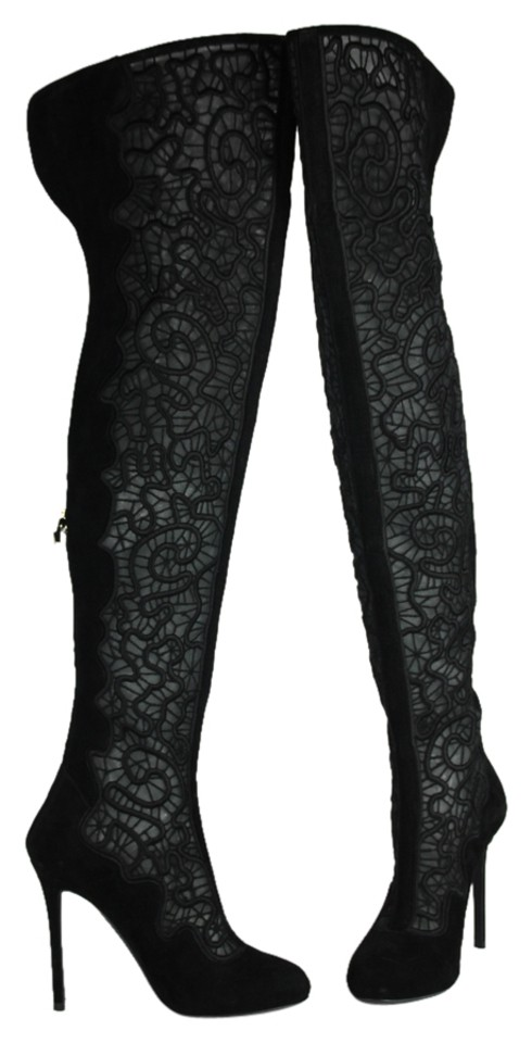 Nicholas Kirkwood Black Suede * Embroidered Mesh Suede Black Over-the-knee Boots/Booties 99d10e