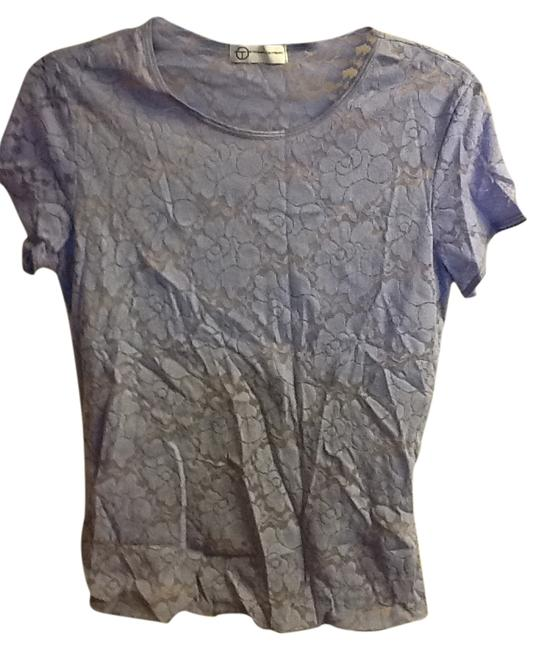 Things Contempo Lace Short Sleeve Comfortable Office Professional Floral Stretchy Top Lavender