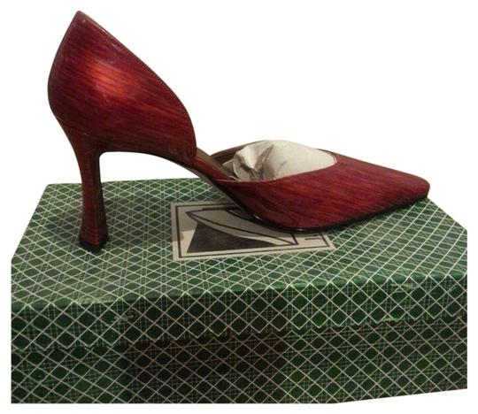 J. RENE'E Leather Patent Leather Red Pumps