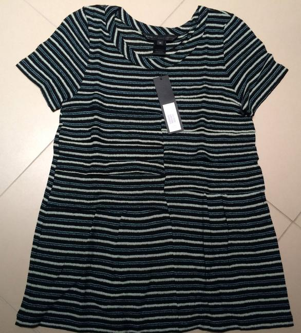 Marc by Marc Jacobs Peplum Striped Pleated Sheer T Shirt Blue