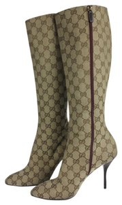 Gucci Print Boot Knee High Canvas Tan Boots