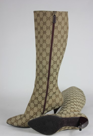 Gucci Print Knee High Canvas Casual Tan Boots
