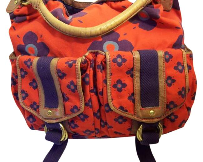 Item - Multi-red/Purple/Blue/Brown Leather Canvas Hobo Bag