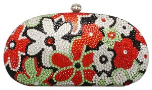 Multicolor Black, Red, Green, Rhodium and Clear Crystal Clutch
