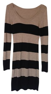 H&M short dress Tan/black Tan Black Striped Sweater on Tradesy