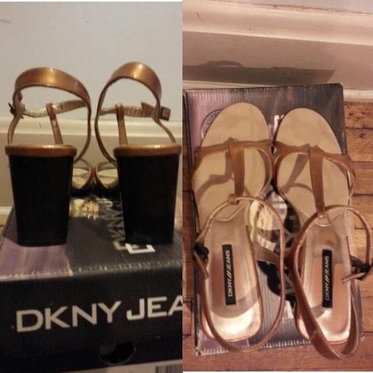 DKNY Patent Leather Gold Pumps